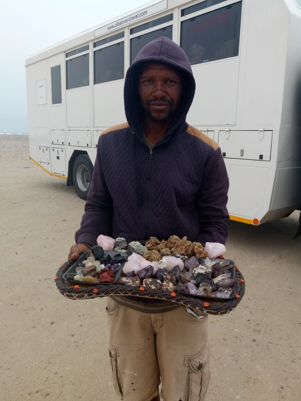 Seller of desert stones.