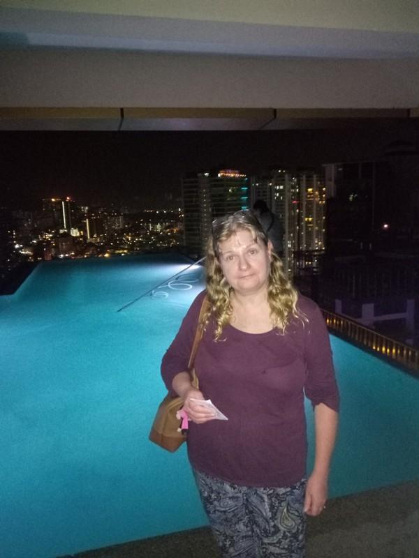 Infinity pool at night.