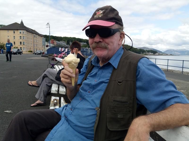 Eating Zavaroni's ice-cream.