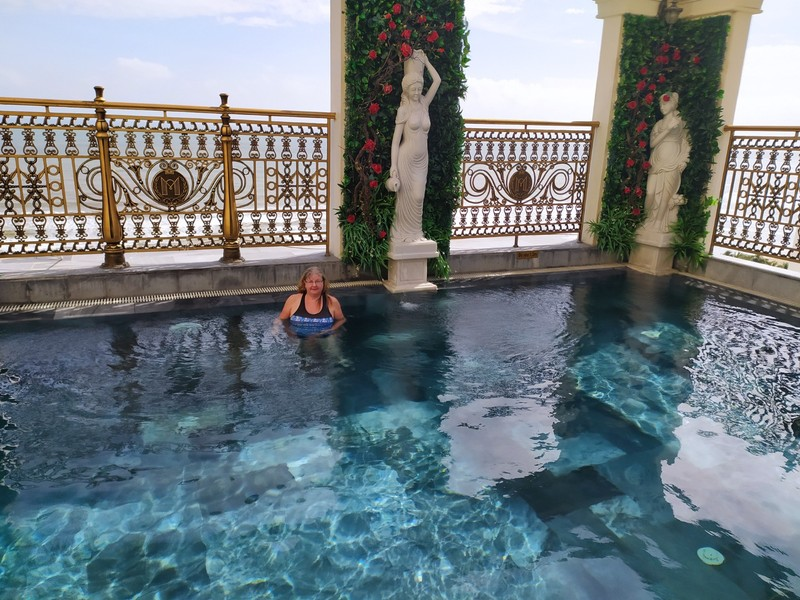 Enjoying the pool.