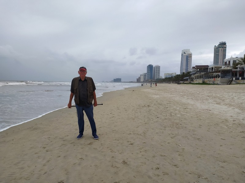 Down on the beach.