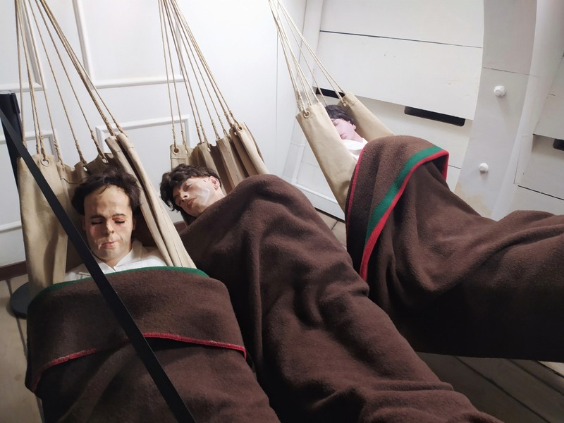 Sailors' sleeping quarters.