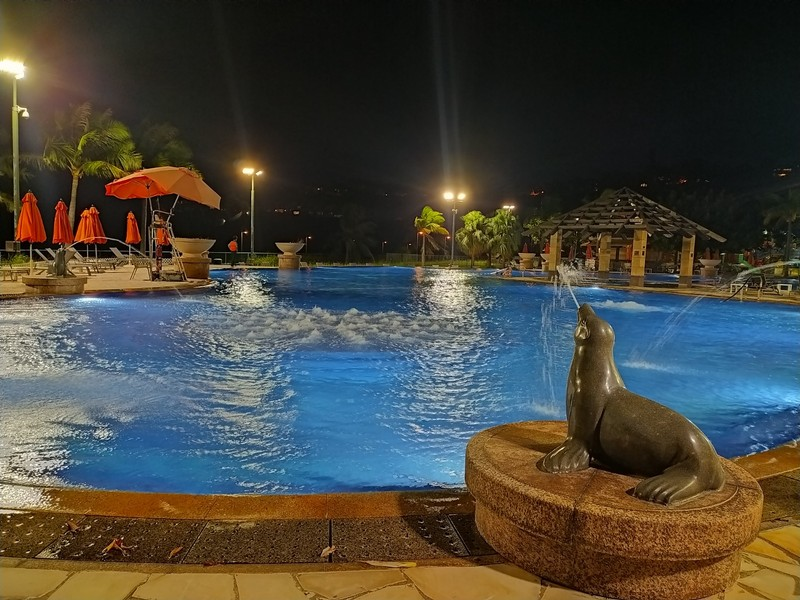 Pool at our sports club at night.