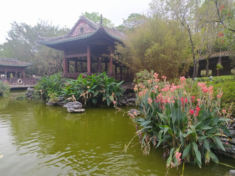 Flowers, Pagodas, Ponds.