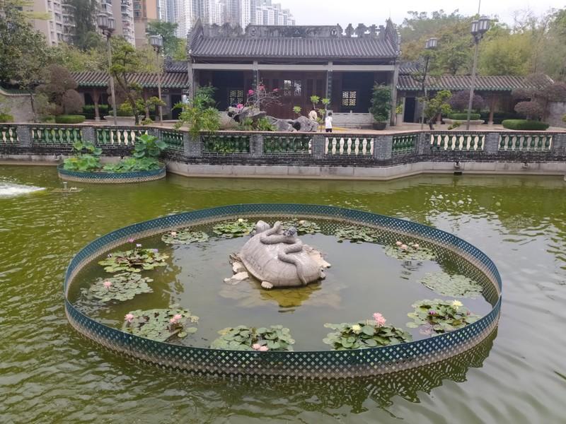 Turtle Statue on Pond.