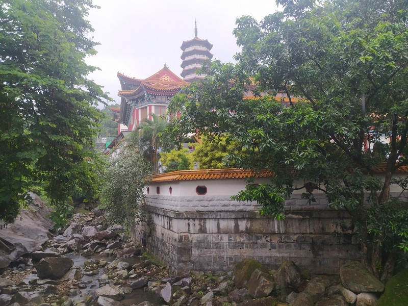 View of the monastery across a stream on the way down from the bus stop.