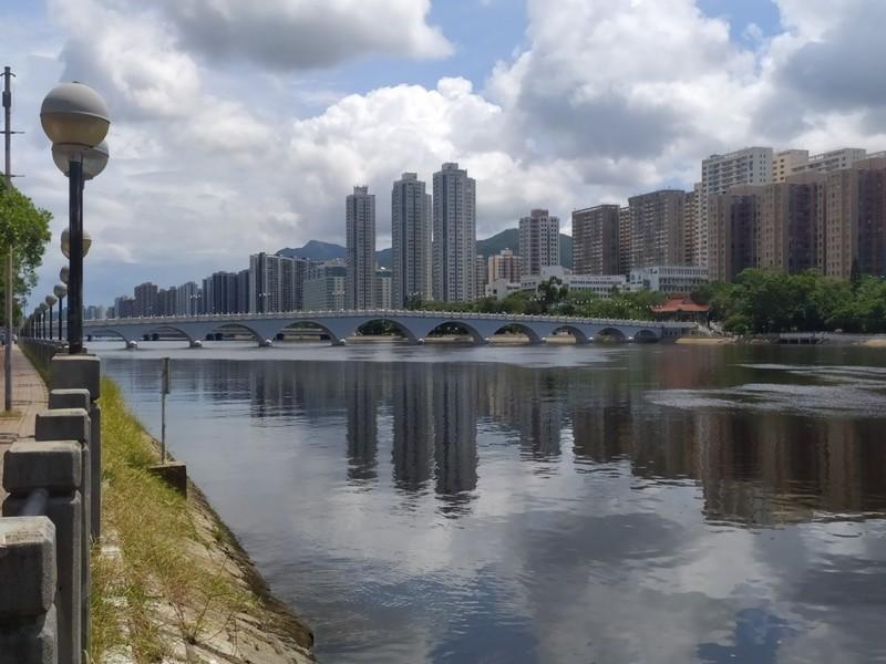 Looking up the Shing Mun River towards the Lek Yuen Bridge.