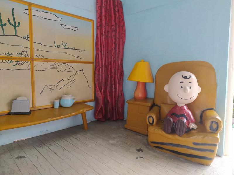 Charlie Brown at home.