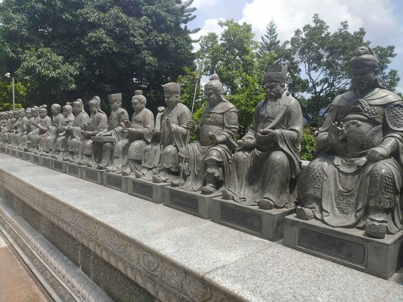 Statues on the upper level.