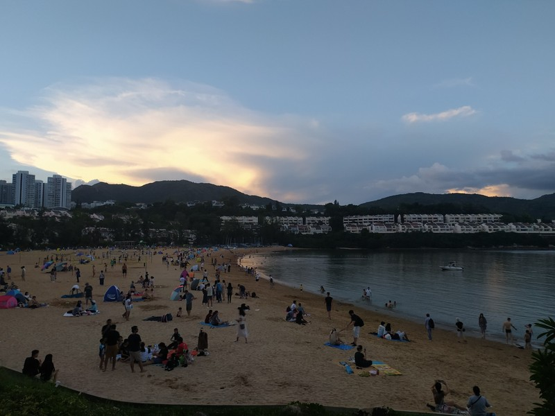 Discovery Bay Beach on a public holiday.