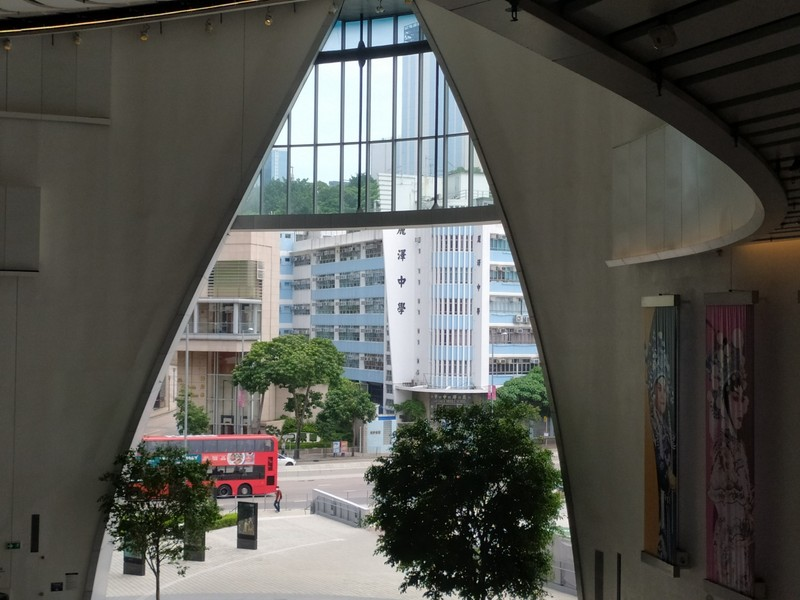 Looking out from inside the Xiqu Building.