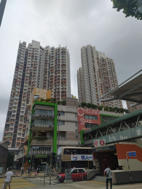 This area of Cheung Sha Wan is built up but with wide open roads.