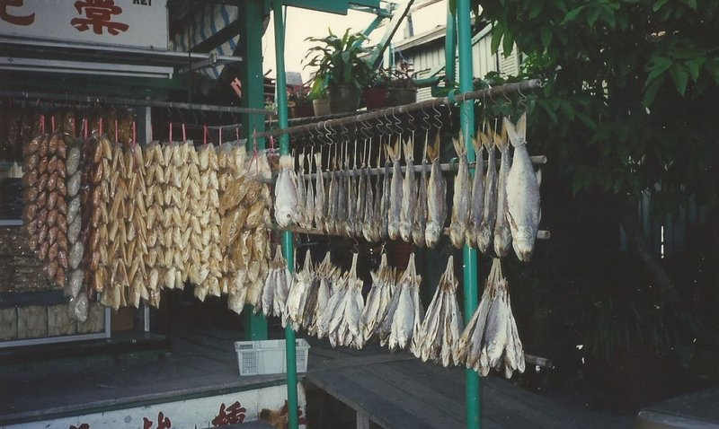 Fish drying in the sun on the waterfront.