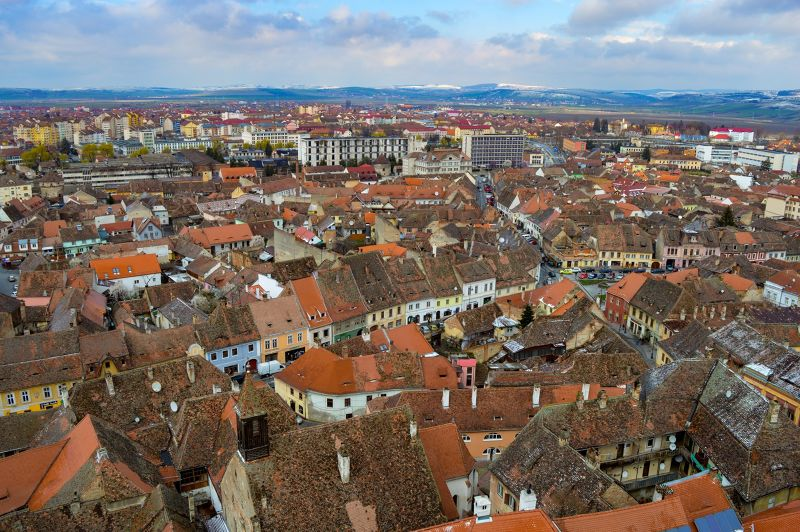 Winking roofs of the lower town, Sibiu, Romania