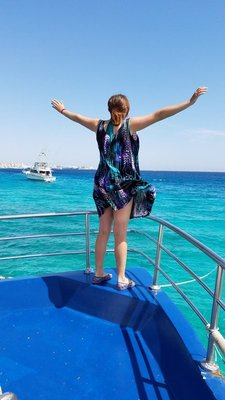Doing my best Titanic impression. I'm the queen of the world!