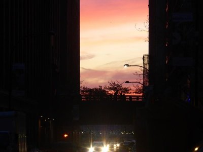 The High Line: seen at sunset from street level