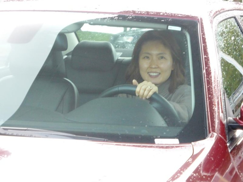 Shin pretending to drive