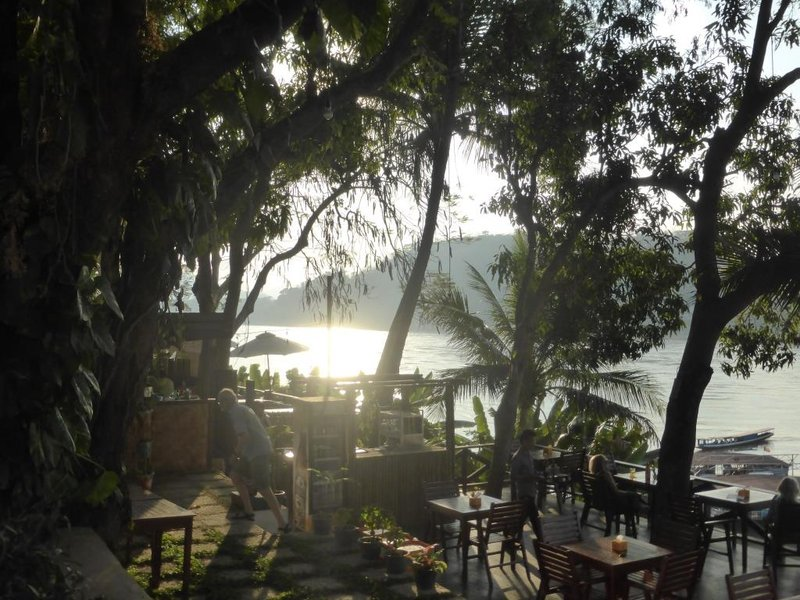 breakfast area of our hotel, overlooking the Mekong