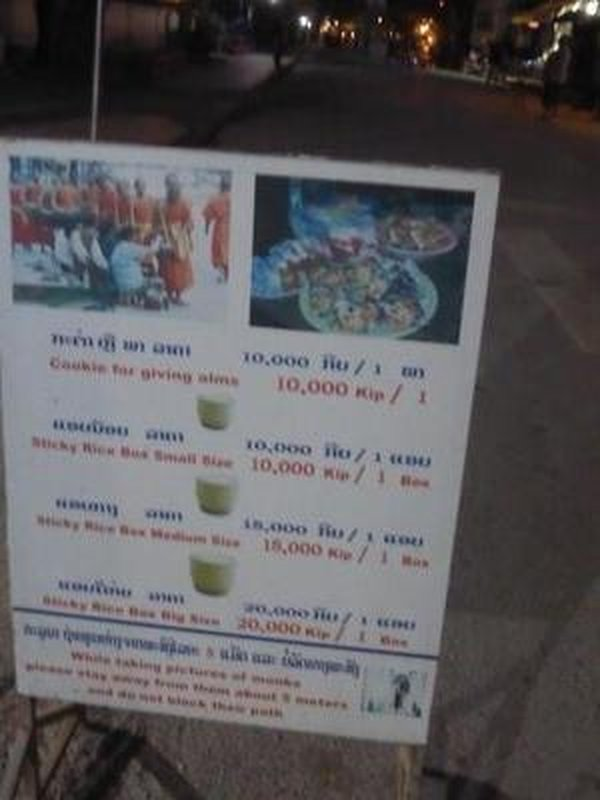 "the ""menu"" of the offerings sold to the tourists- 10,000 KIP is about 1 Euro"