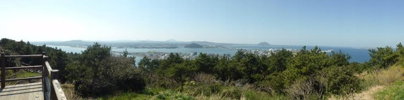panoramic view on the way to the top of Seongsan