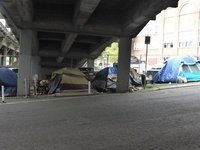 homeless camp in the city centre