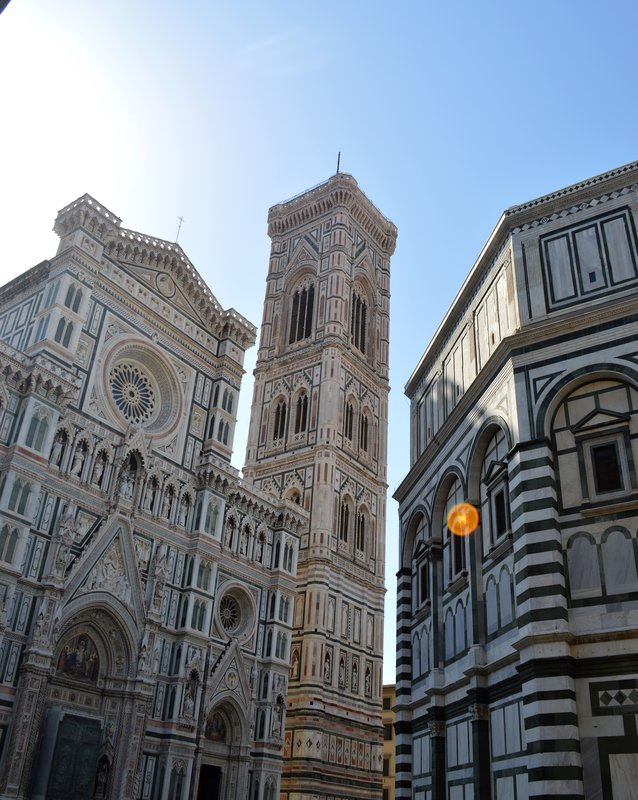 The front of the Duomo, the bell tower, and baptistry