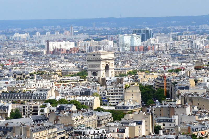 Arc de Triomphe as seen from the Eiffel Tower