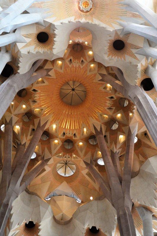 Sagrada Familia inside: dome of the crossing