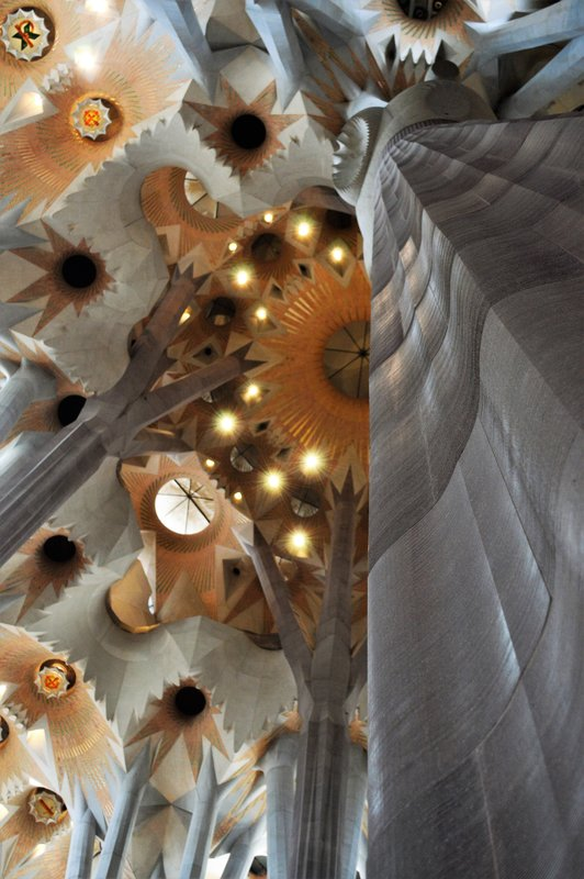 Sagrada Familia inside: Tree trunk