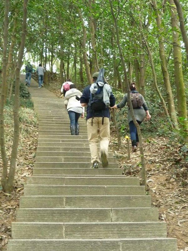 megmássztuk a hegyet. állítólag Kínában gyakoriak az ösvények helyetti lépcsők