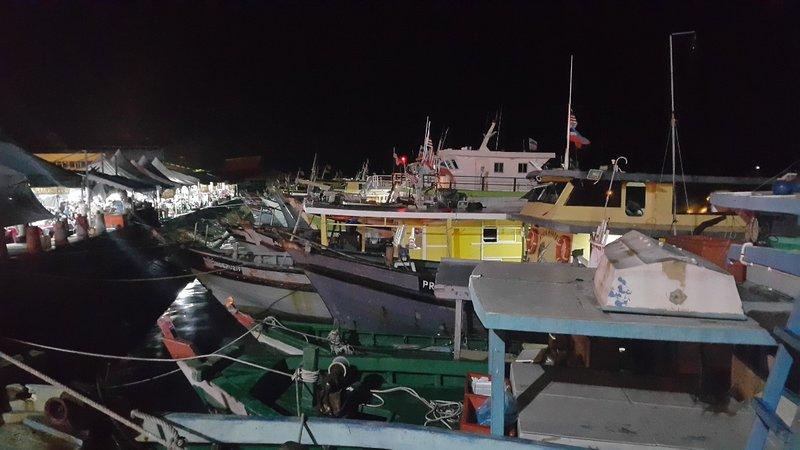 Fishing boats at night