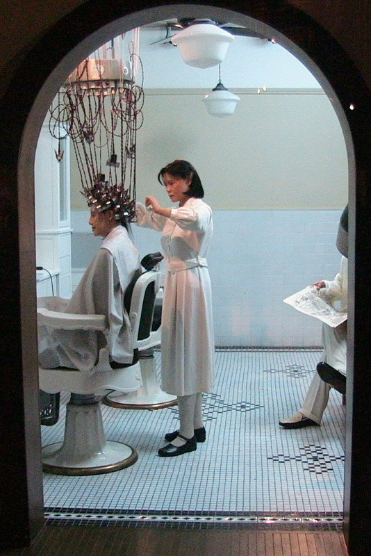 Setting the hair in the olden days