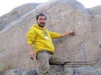 karim on chilas rock carving