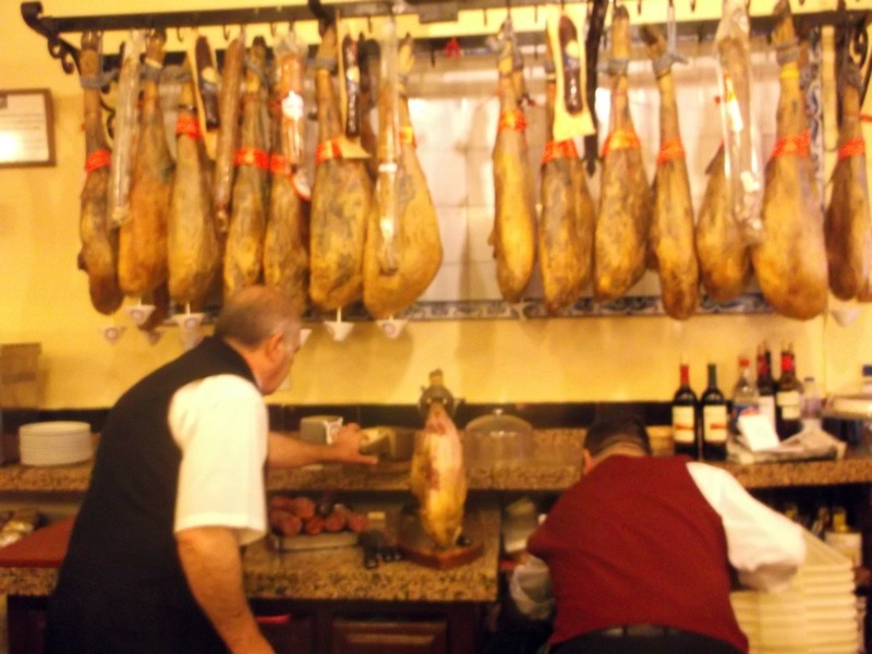 Lunch in Seville- slicing paper thin ham
