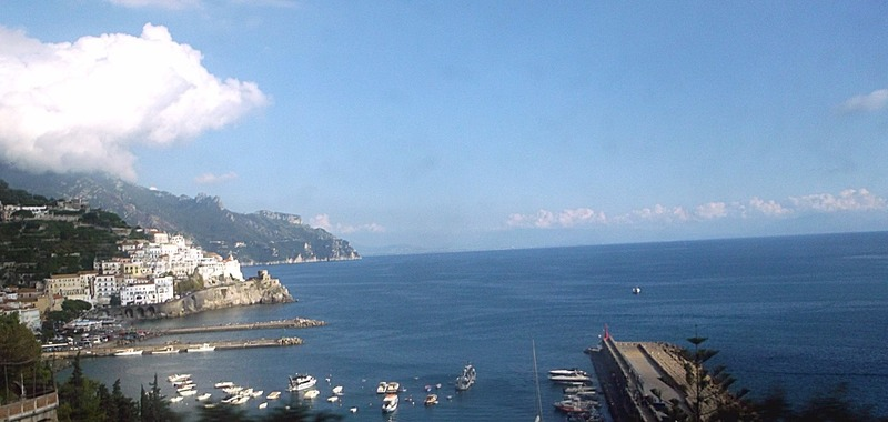 After an exciting hours drive Amalfi in sight