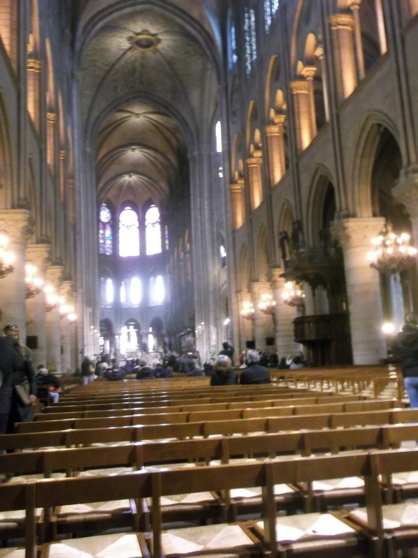 looking down to nave of Notre Dame