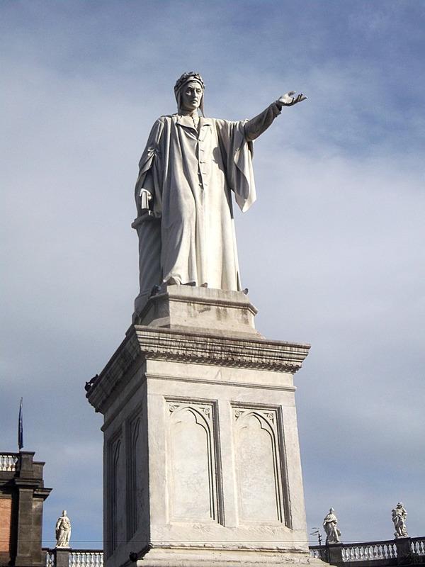 with a grande statue of Dante