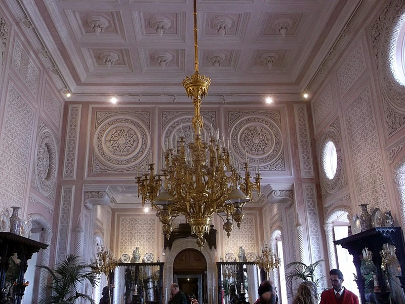 and the main hall with enormous chandeliers