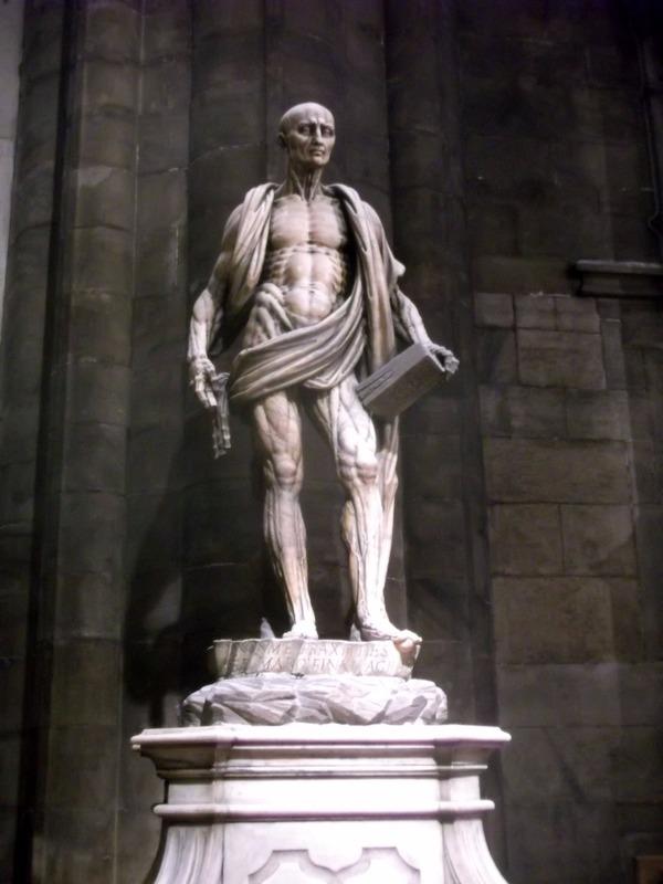 Saint Bartholomew wearing his skin..