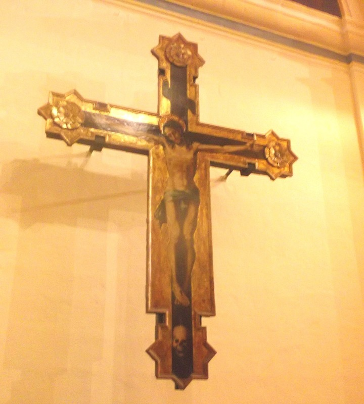 Wooden cross painted by Caravaggio