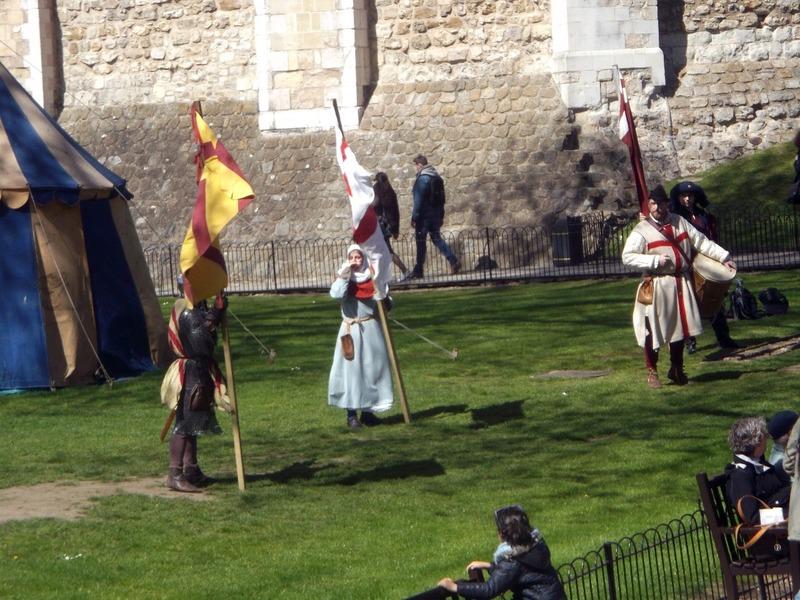 Actors running around the castle
