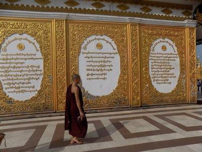 monk at Snwedagon Pagoda