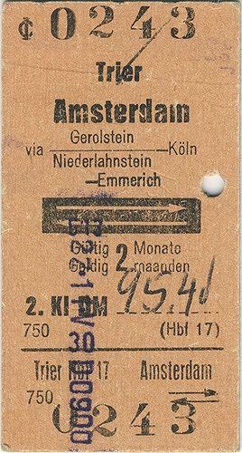 Trier to Amsterdam Train Ticket, 1973 - Amsterdam