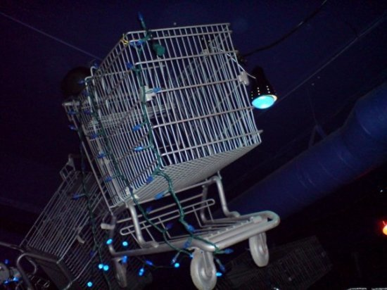 Shopping cart above the bar