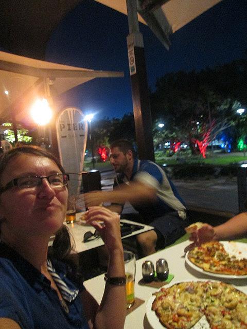 Coconut prawn pizza