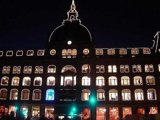 Famous lit up hotel