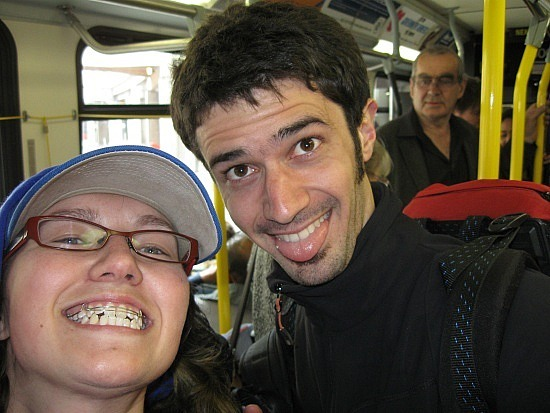 Me and Sylvain on the bus