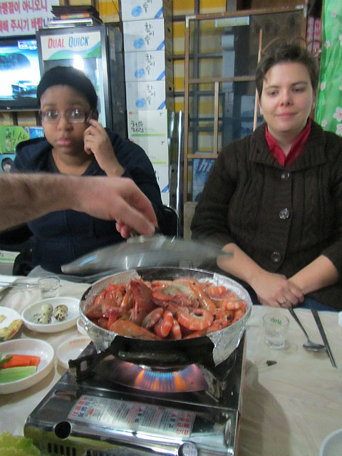 Nicole and Natalie with live shrimp