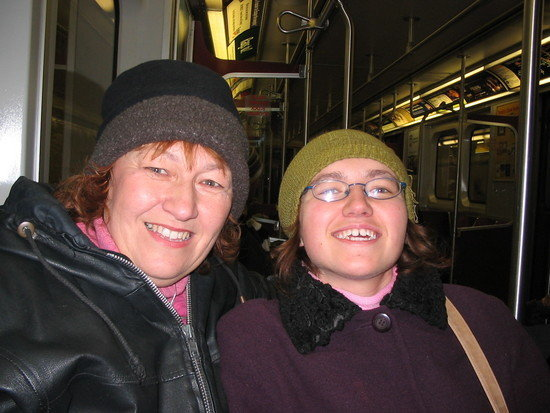 Mom and me on subway