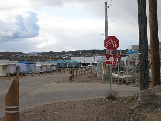 Stop sign in Inuktitut: NUQARVIK